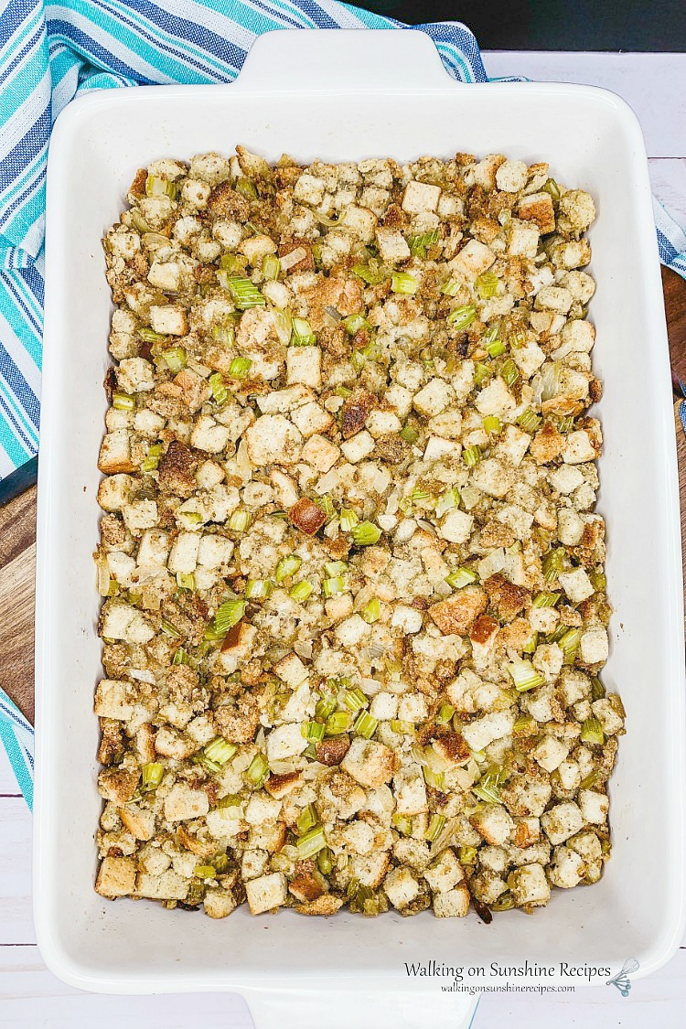 Classic Thanksgiving Stuffing BAKED from Walking on Sunshine Recipes