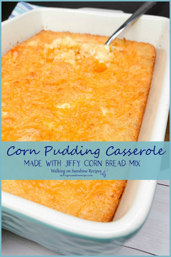 Corn Pudding Casserole made with Jiffy Corn Bread Mix