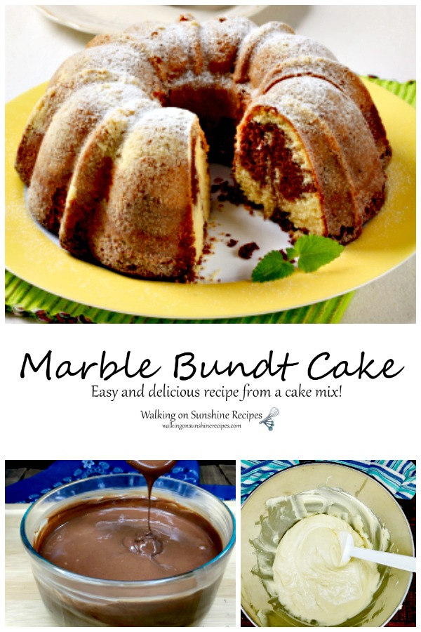 Marble Bundt Cake Mix with melted chocolate.