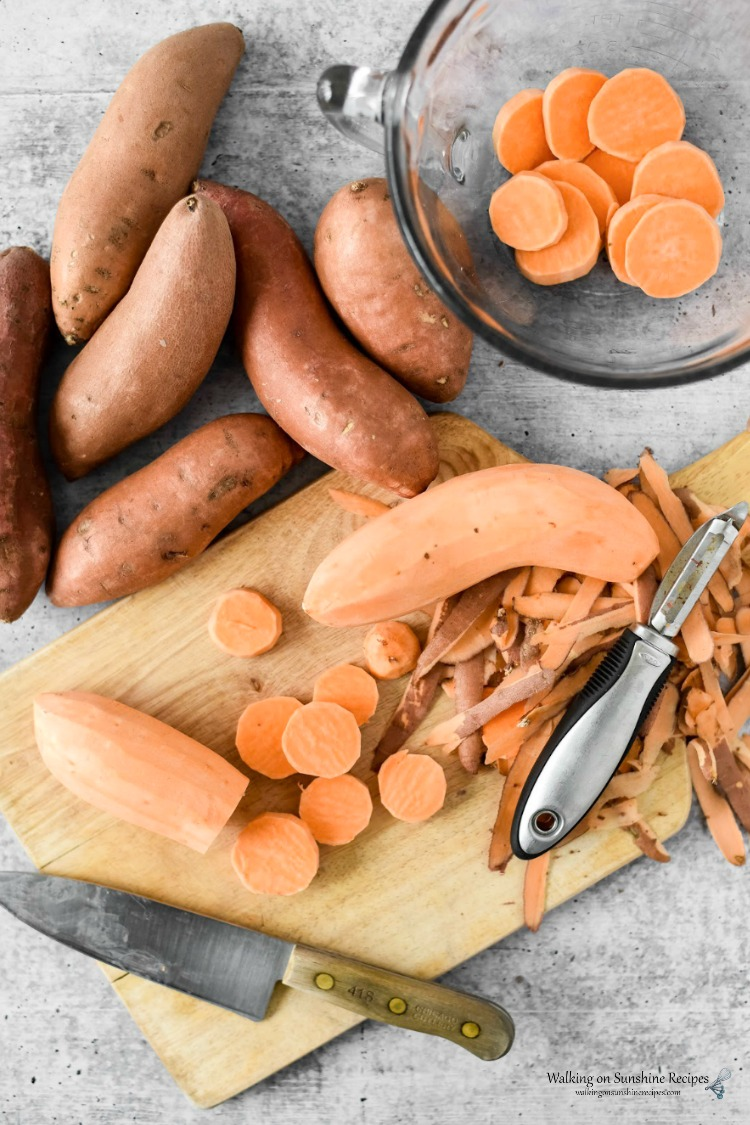 Peel Sweet Potatoes for Candied Sweet Potatoes Recipe