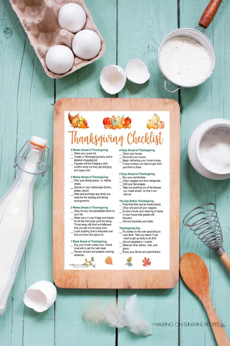 Thanksgiving Checklist on Cutting Board