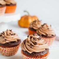 Chocolate Pumpkin Cupcakes with Nutella Buttercream Frosting