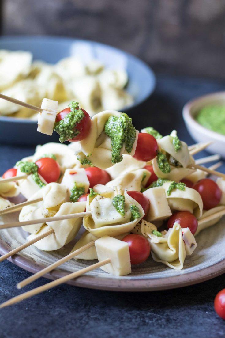 Tortellini Skewers with Lemon Spinach Pesto