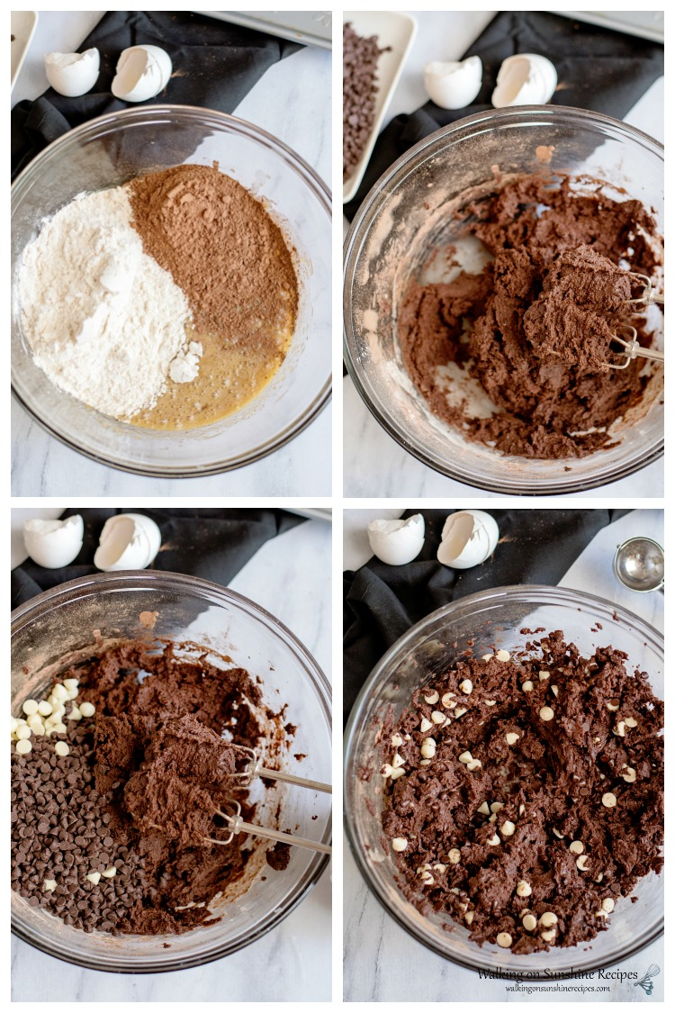 Add flour and chips to mixture for Double Chocolate Chip Cookies