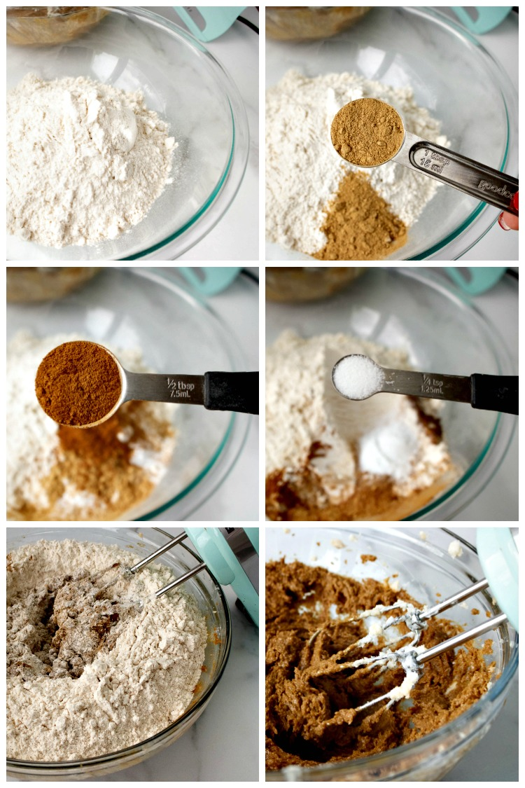 Add spices and flour to wet ingredients for Gingersnap Cookies