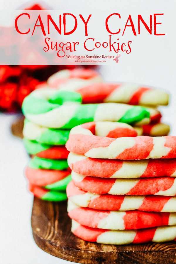 Candy Cane Sugar Cookies pin from Walking on Sunshine Recipes