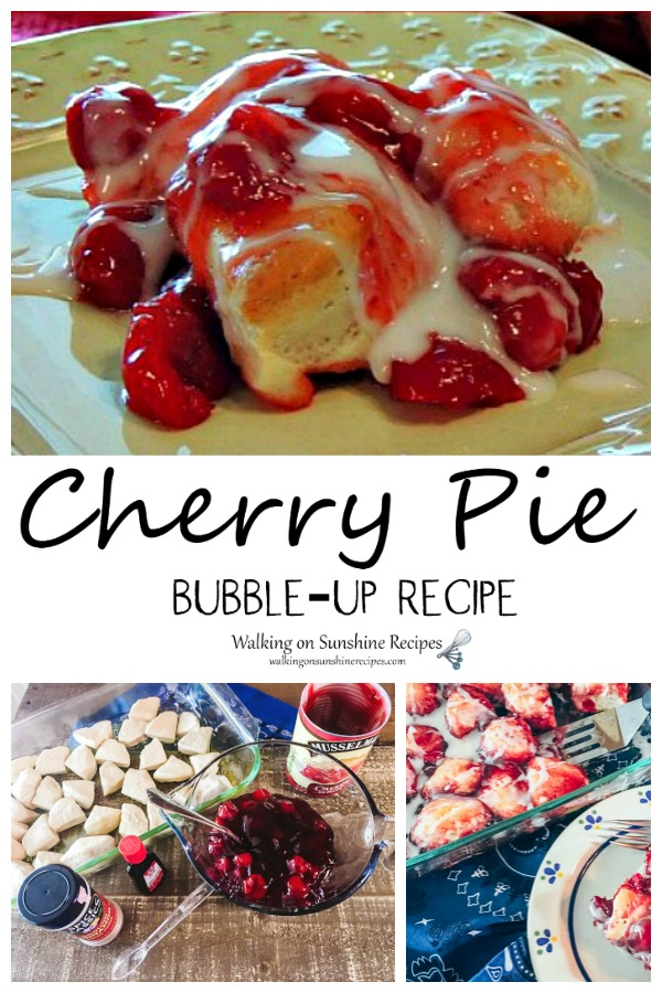 Cherry Pie Bubble Up Dessert with canned biscuits and cherry pie filling.