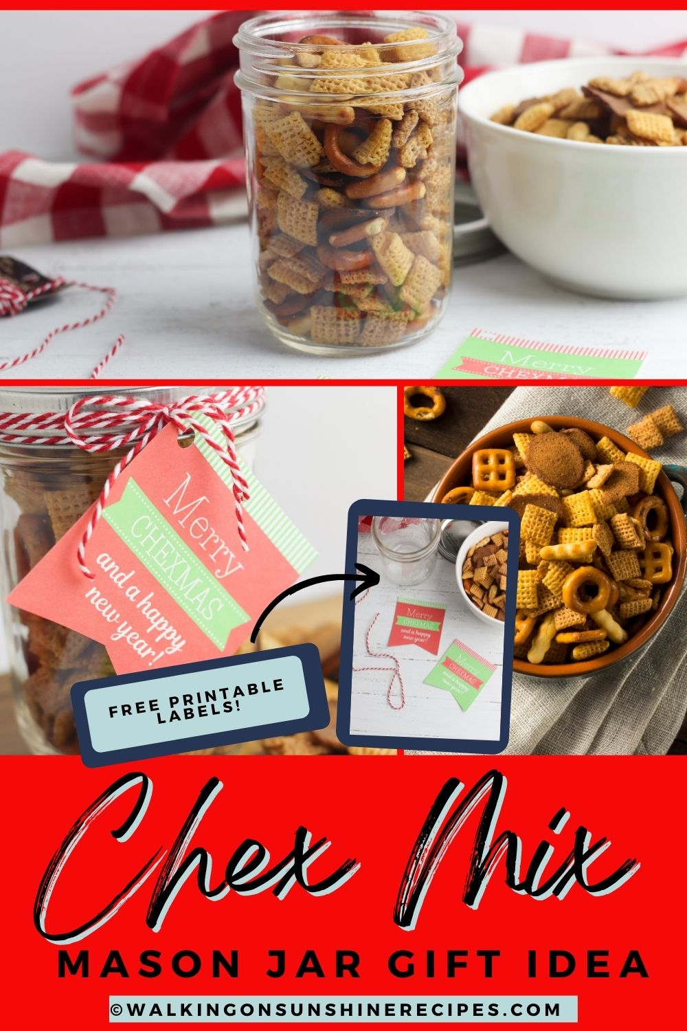 Christmas snack mix in a jar.