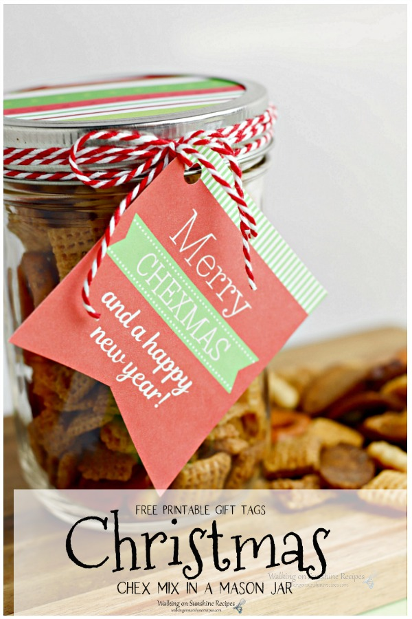 Merry Christmas Check Mix in a mason jar with gift tag.