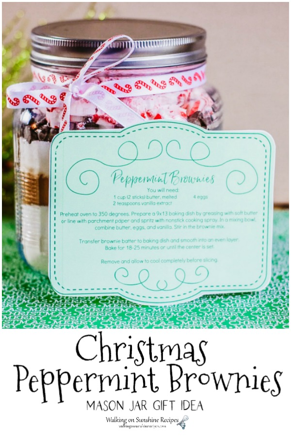 Ingredients for Homemade Peppermint Brownies in a mason jar with free printable label