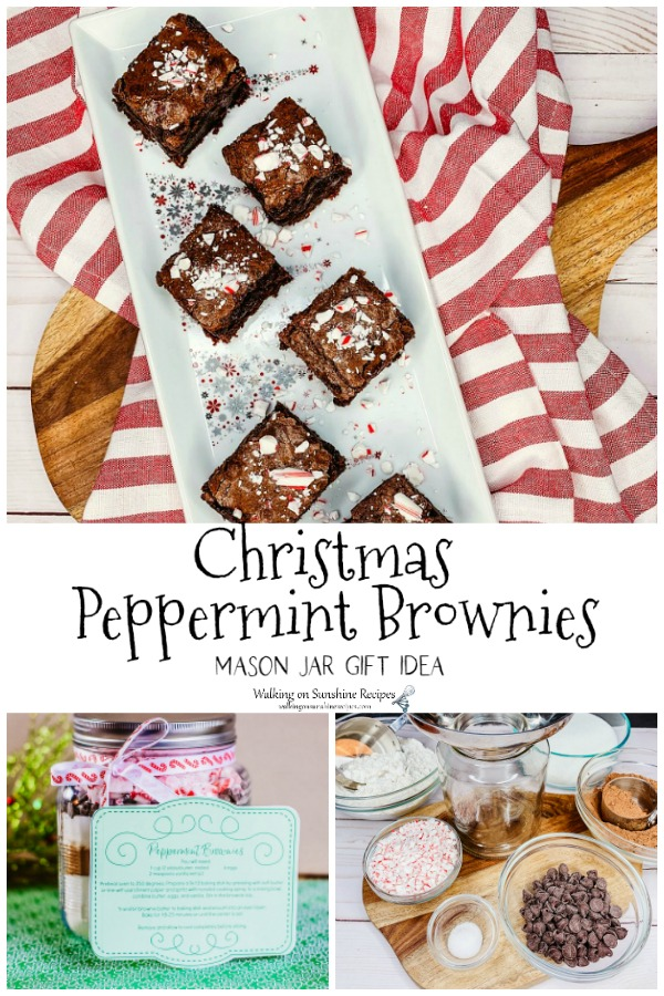 Christmas Peppermint Brownies baked on tray and as mix ingredients in mason jar.