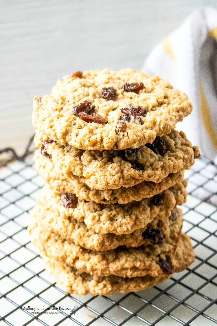 Classic Oatmeal Cookies stacked on cooling rack from WOS