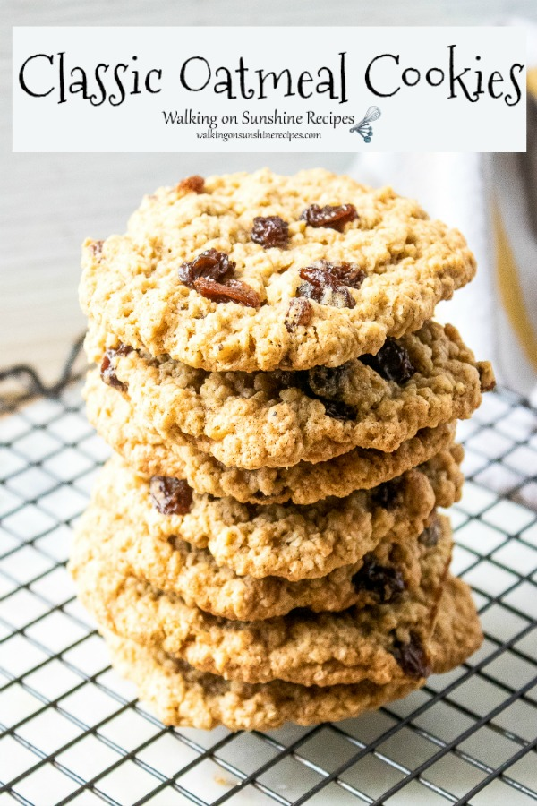 Classic Oatmeal Cookies with Raisins Stacked on cooling rack.
