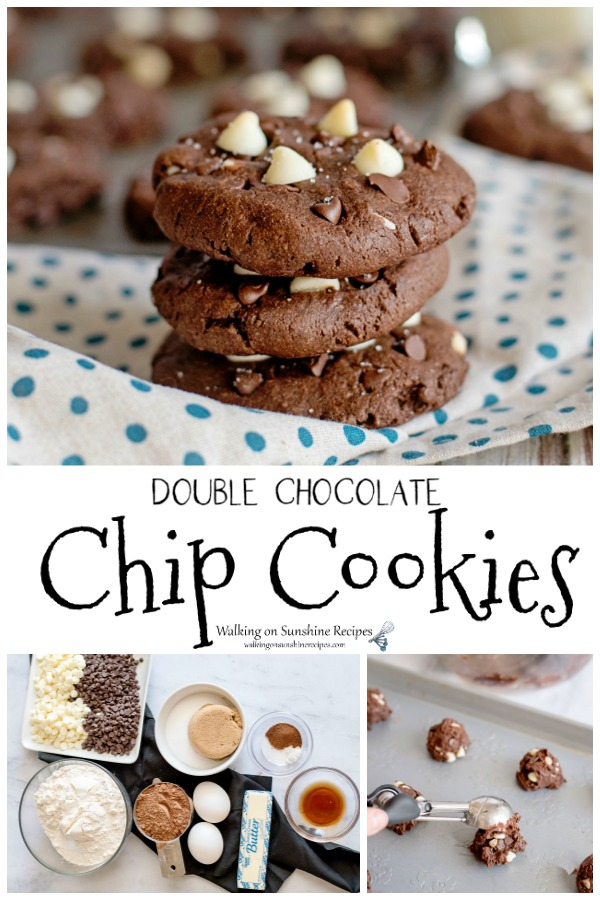 Double Chocolate Chip Cookies with white and semi-sweet chips.