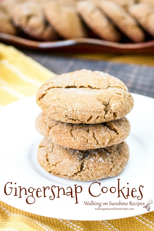 Gingersnap Cookies on white plate from Walking on Sunshine Recipes