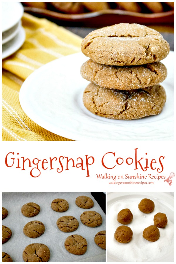 Gingersnap Cookies soft and chewy from Walking on Sunshine Recipes