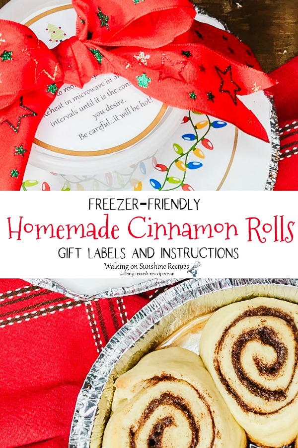 Homemade Cinnamon Rolls with gift labels and directions.