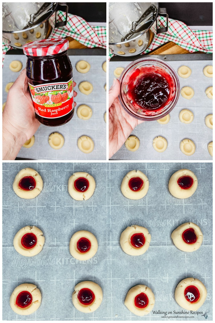 Filling raspberry thumbprint cookies with seedless jam.