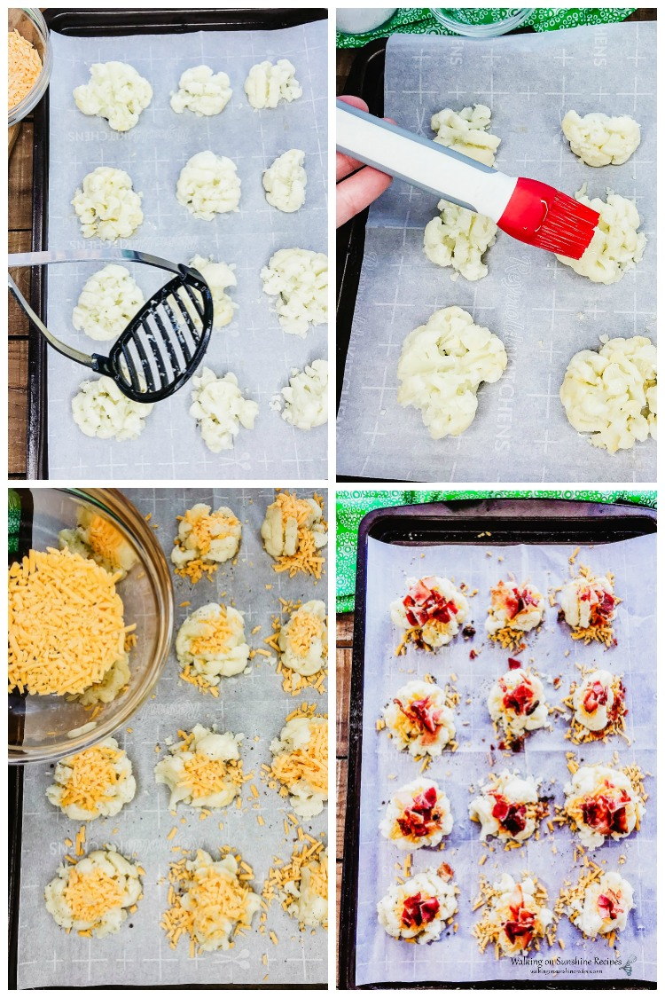 How to Smash, Add Cheese and Bacon to Loaded Cauliflower Bites
