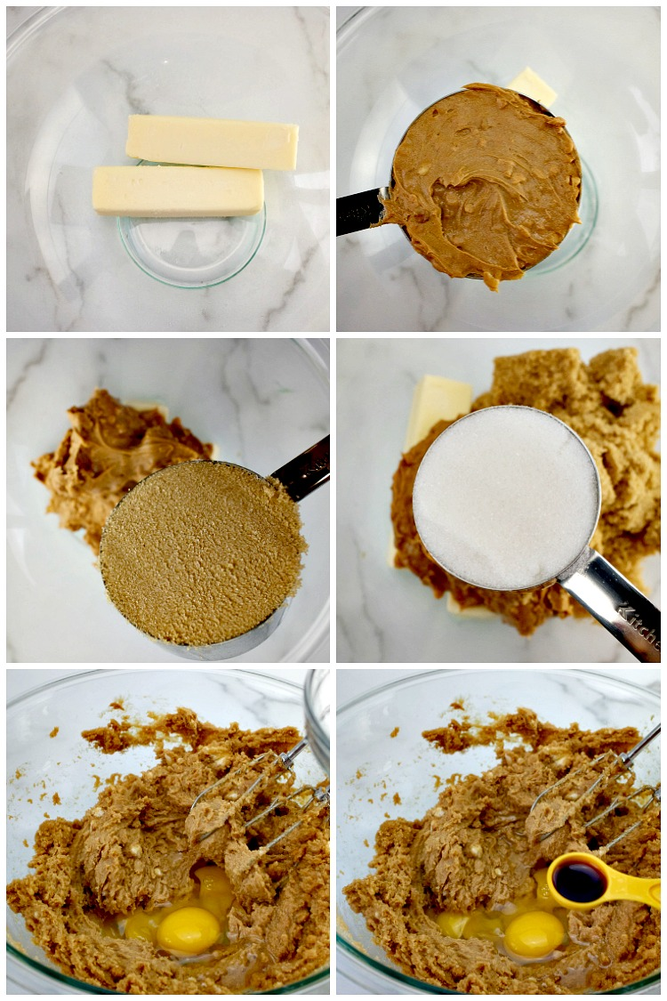 Ingredients for Chunky Peanut Butter Cookies in Mixing Bowl