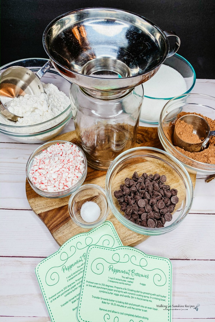 Ingredients for Peppermint Brownies Mason Jar Gift