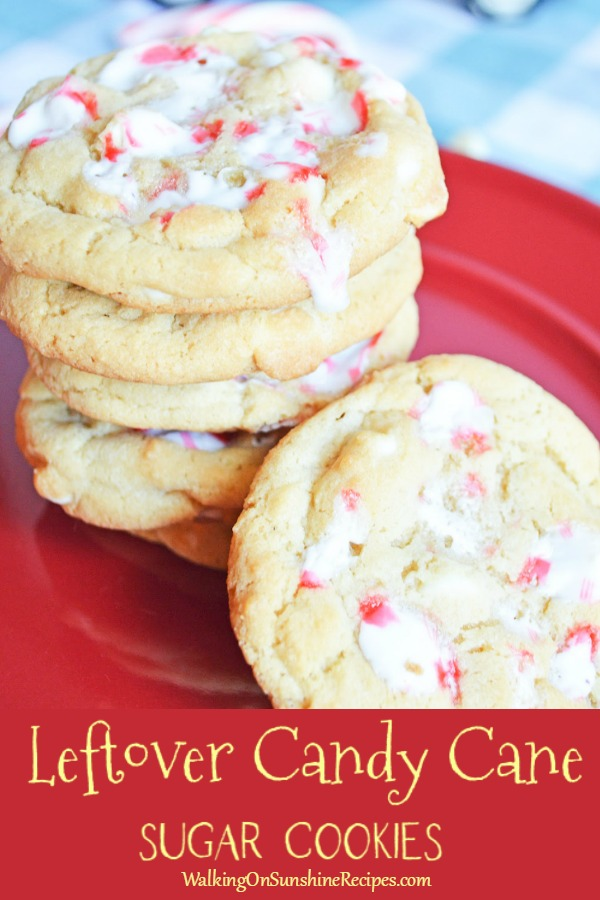 Leftover Candy Cane Sugar Cookies with White Chocolate Chips from WOS on red plate
