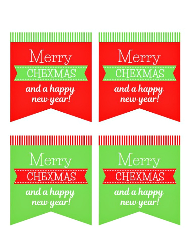 Merry Chexmas Gift Tags for blog post Last Minute Gift Idea