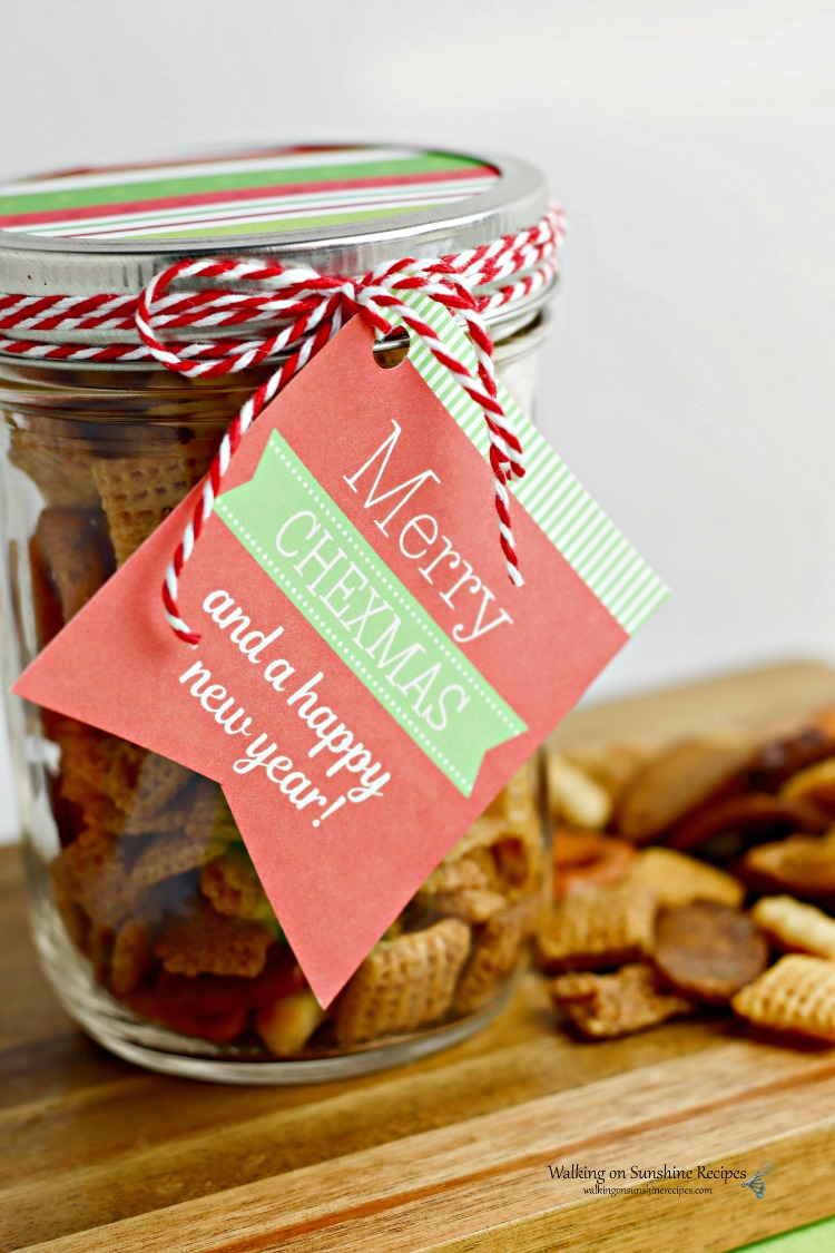 Merry Chexmas Gift in a Jar with Printable Tags