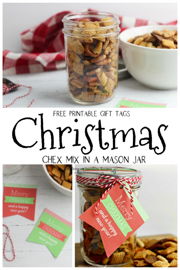 Merry Christmas Chex Mix in a Jar Gift Idea with Free printable tags