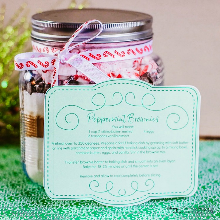 Mason Jar Homemade Peppermint Brownie Mix with printable label and festive ribbon.