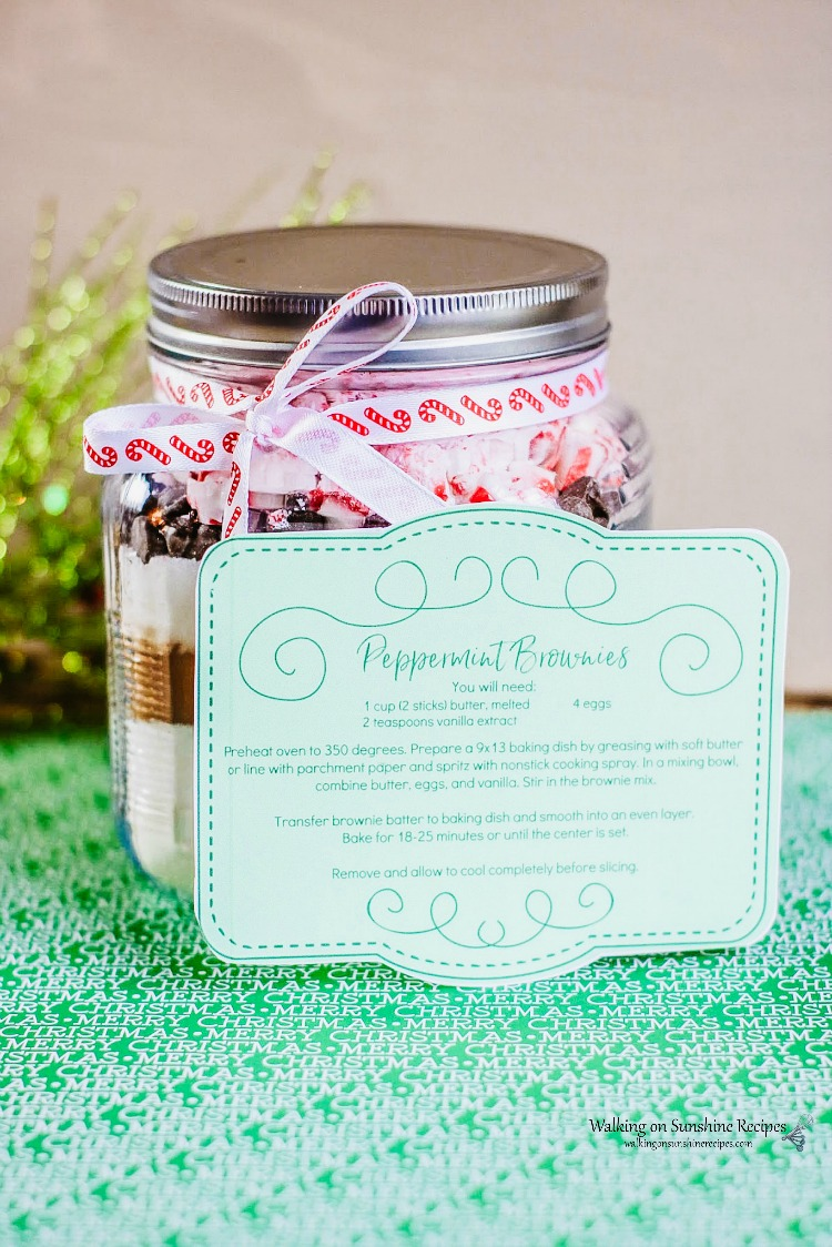 Homemade Peppermint Brownie Mix in a mason jar.