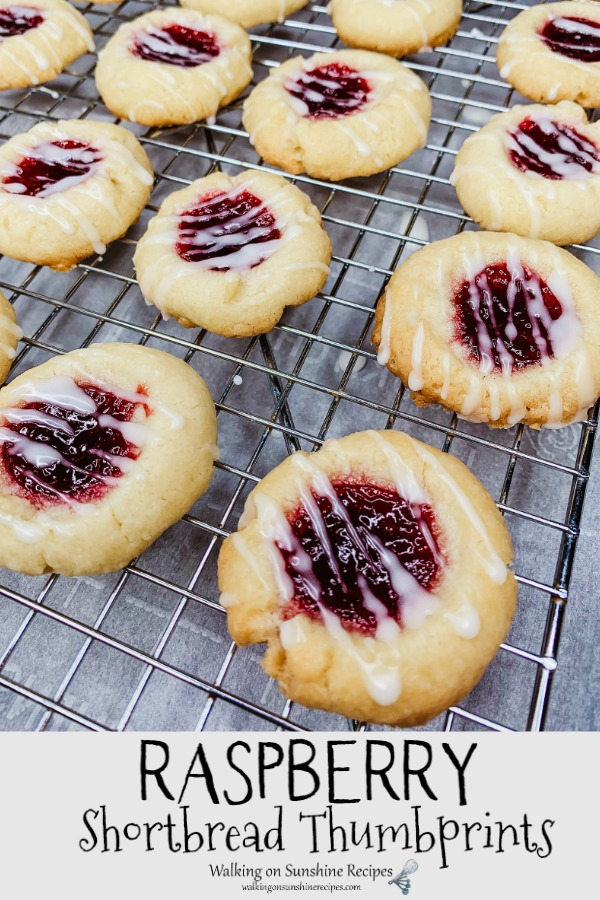 Raspberry Shortbread Thumbprints on cooling rack from WOS
