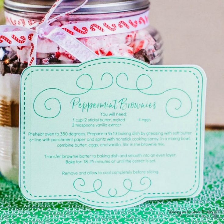 Homemade Peppermint Brownie Mix in a Gift Jar