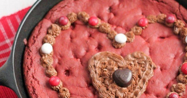 M&M's Red Velvet Skillet Cookie