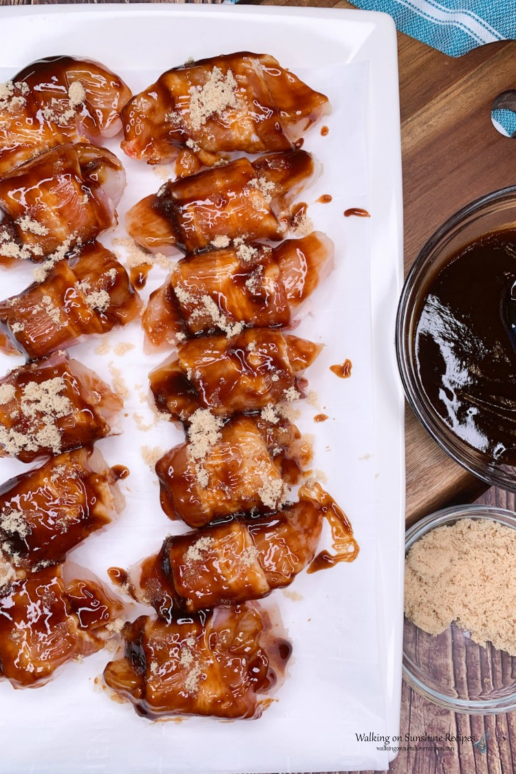 Chicken Bites wrapped in bacon and brushed with barbecue sauce for Air Fryer Chicken Bites