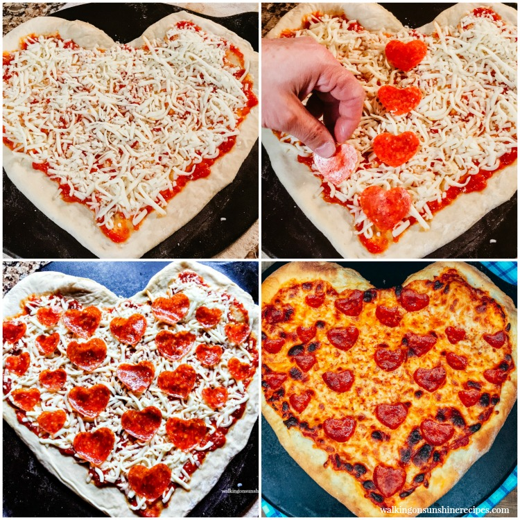 4 pizzas made for Valentine's Day with heart shaped dough and heart shaped pepperoni.