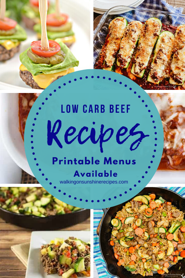 5 different low carb beef recipes featured for our weekly meal plan.
