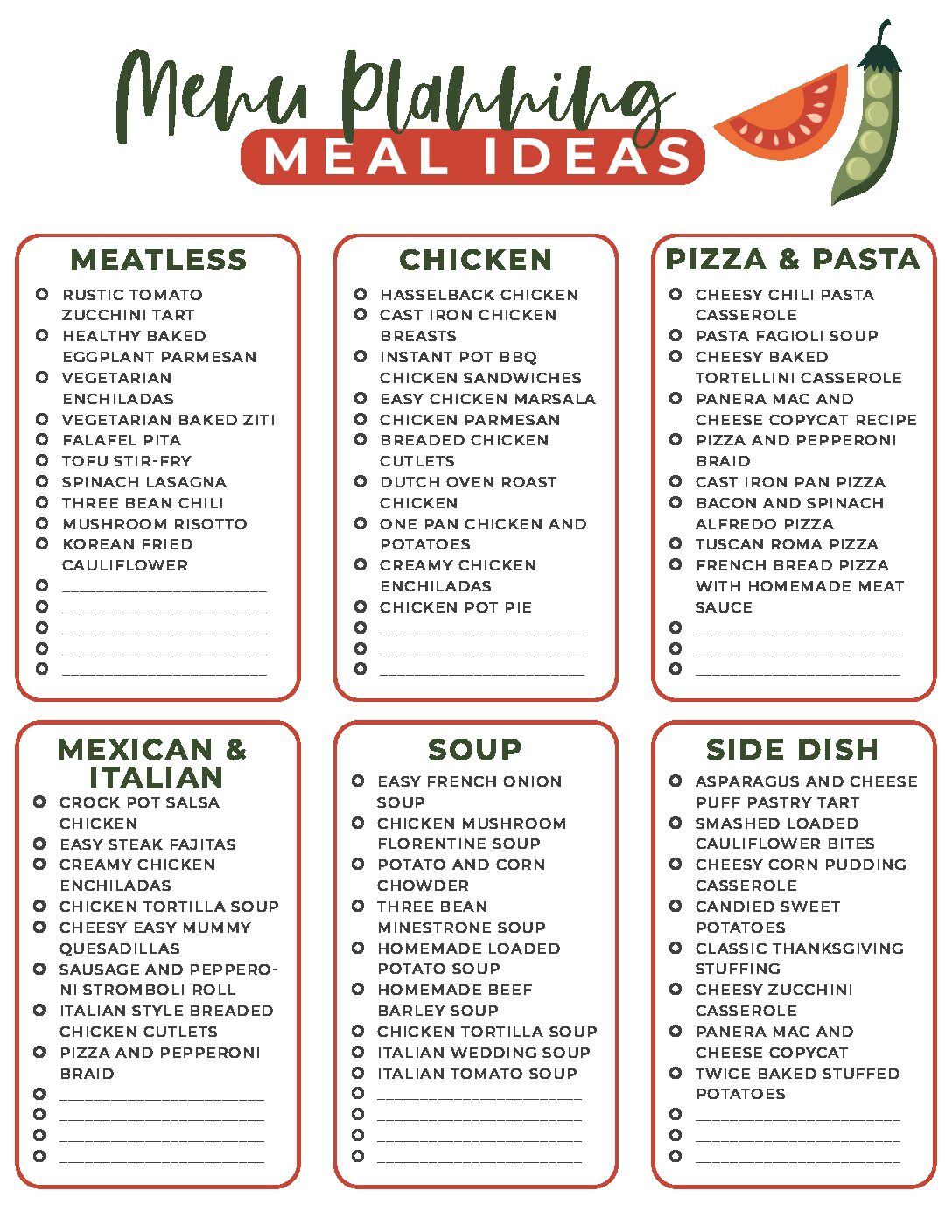 Dinner Planning Menu Ideas