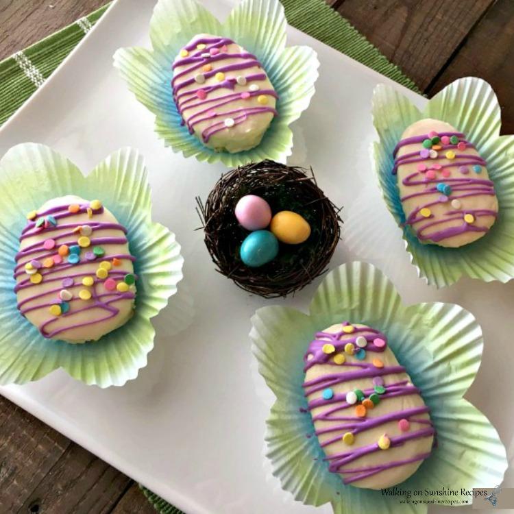 Easter Egg Cakes on white platter