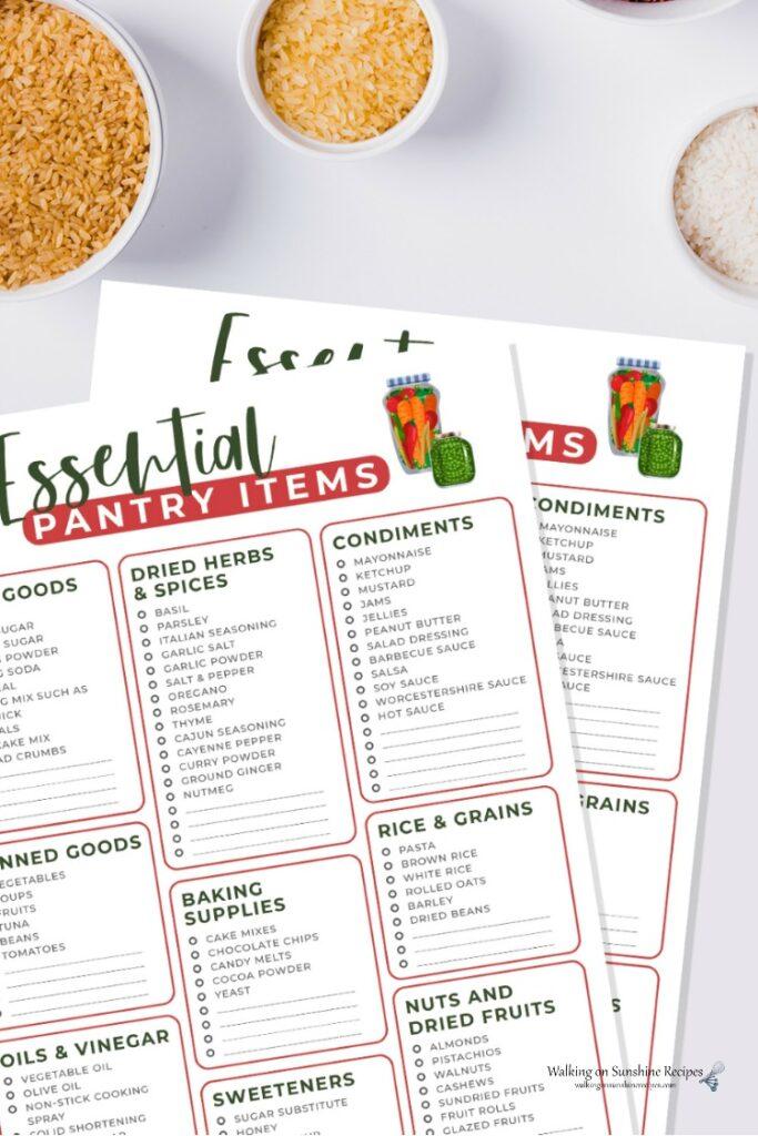 10 Essential Pantry Items printable. .