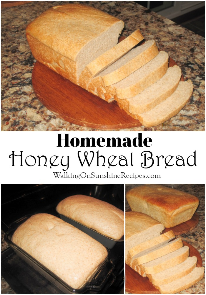 Homemade Honey Wheat Bread in baking pans ready for oven and baked on cutting board.