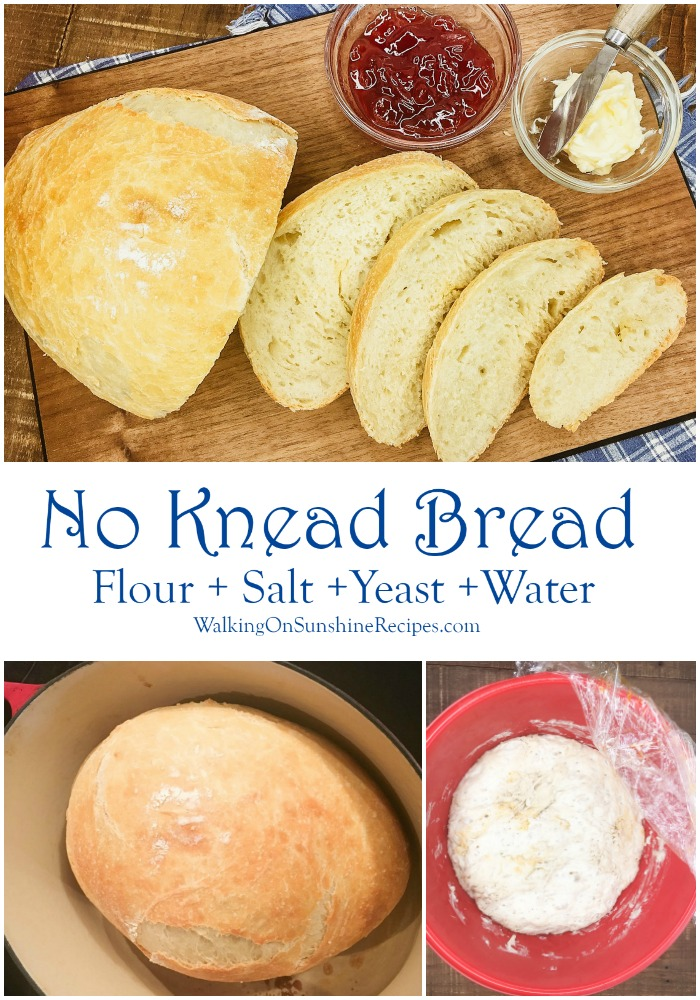 No Knead Bread made with four ingredients.