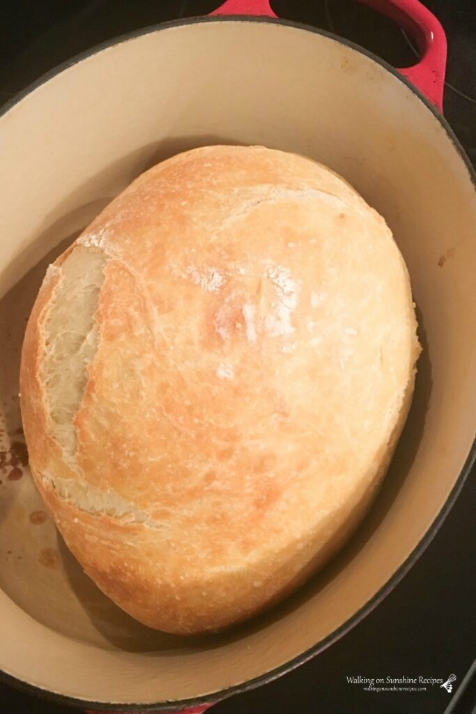 No Knead Bread baked in a Dutch Oven.