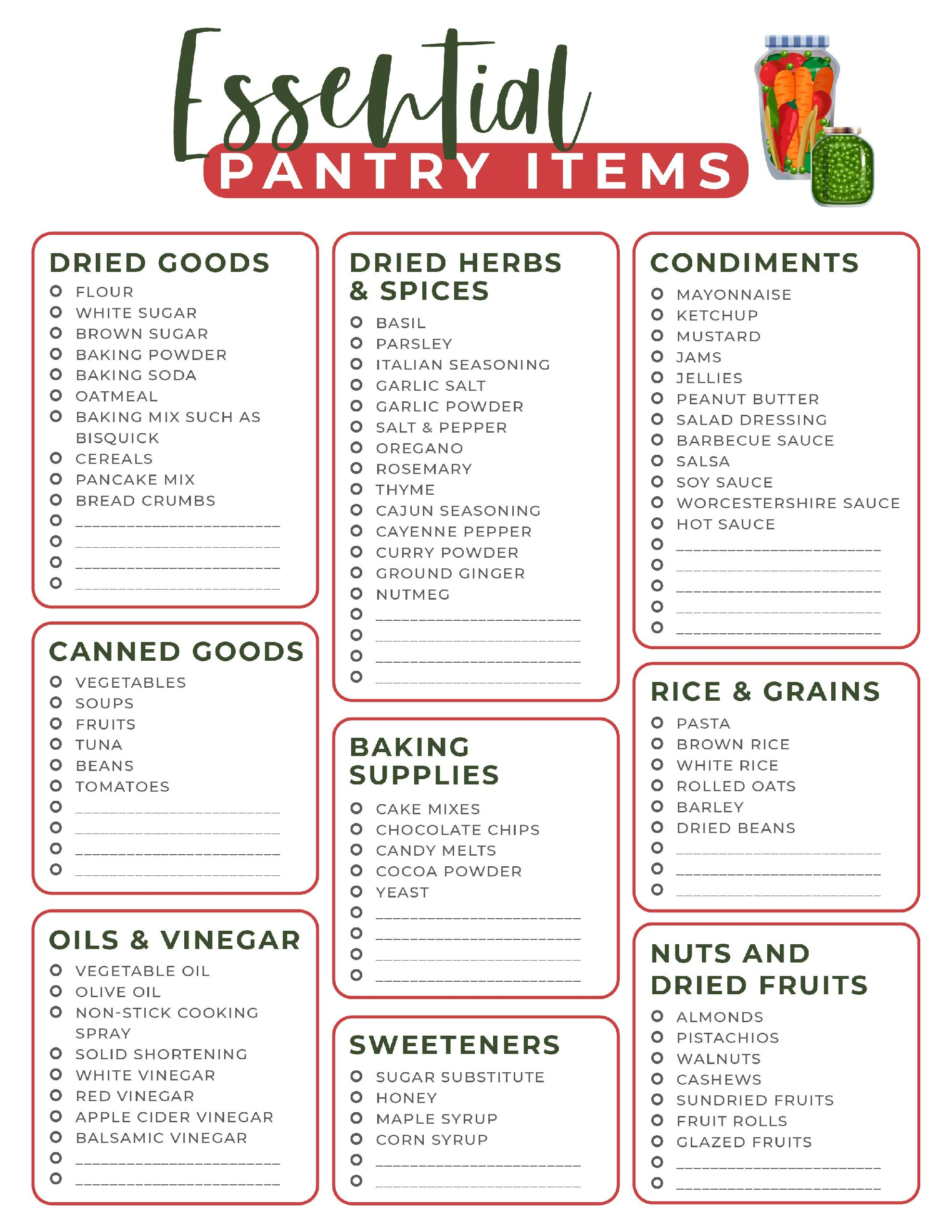 Pantry Essentials List