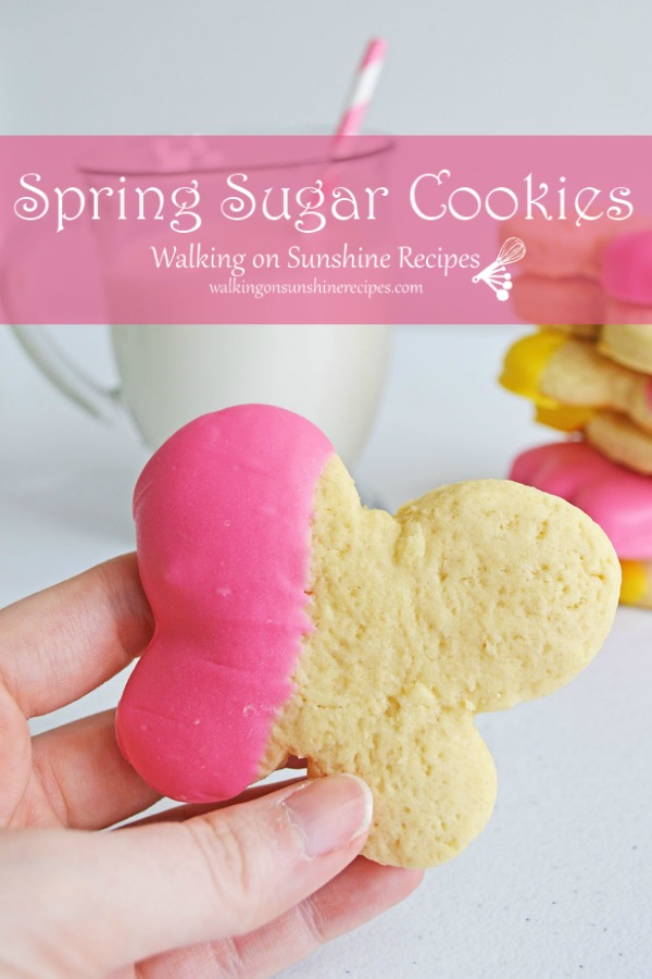 Spring sugar cookies dipped in melted pink chocolate.