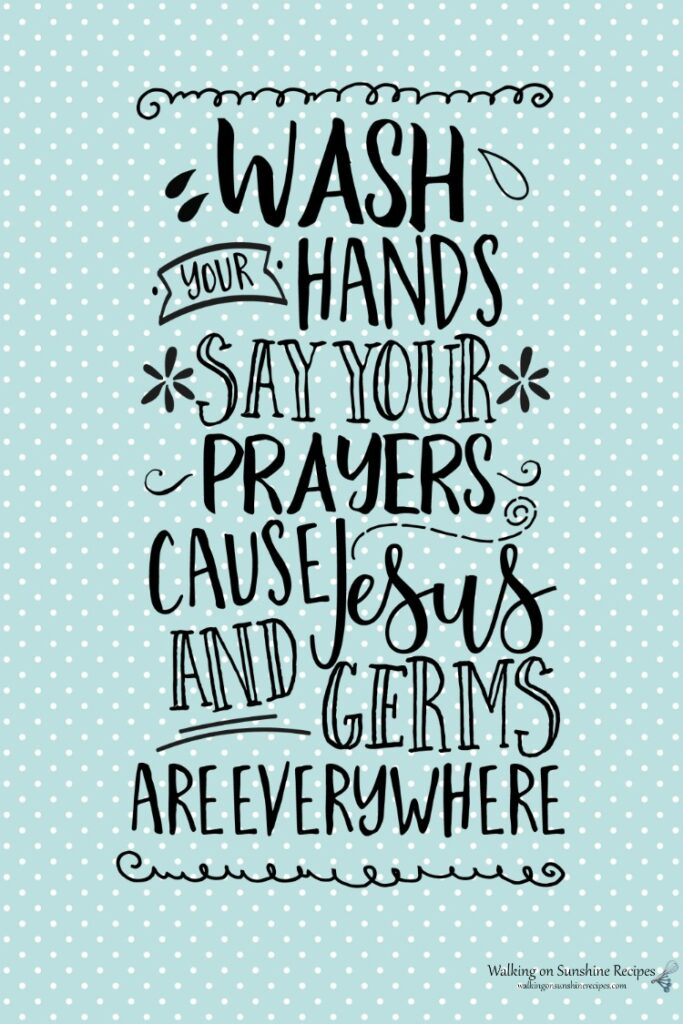 Wash your hands and say your prayers on aqua background.