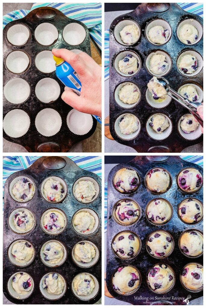 Blueberry Muffins in muffin pan before and after baking.