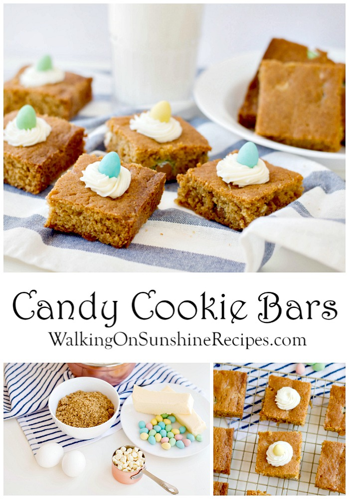 Candy Cookie Bars with Homemade Cream Cheese Frosting