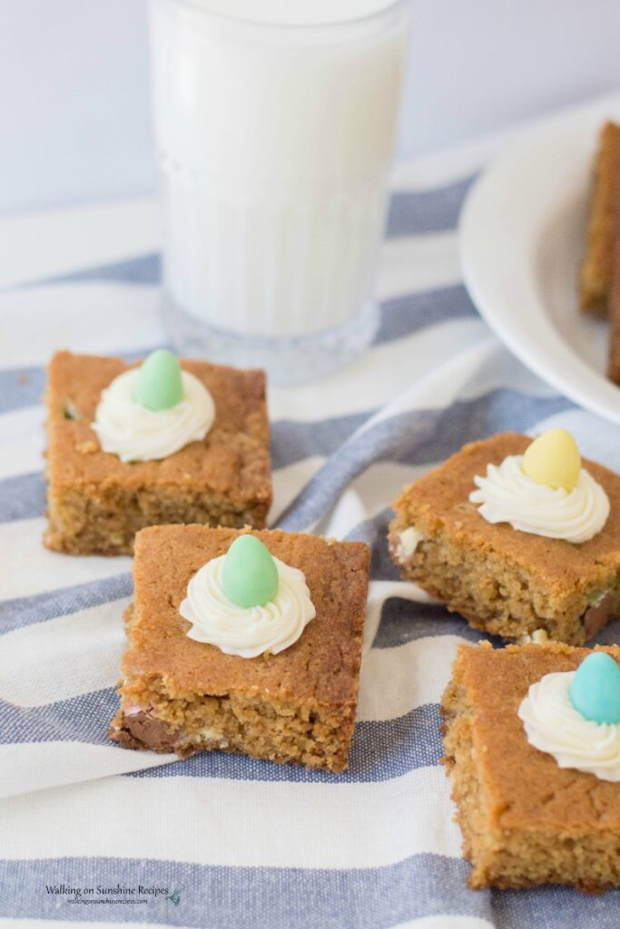 Candy Cookie Bars with glass of milk