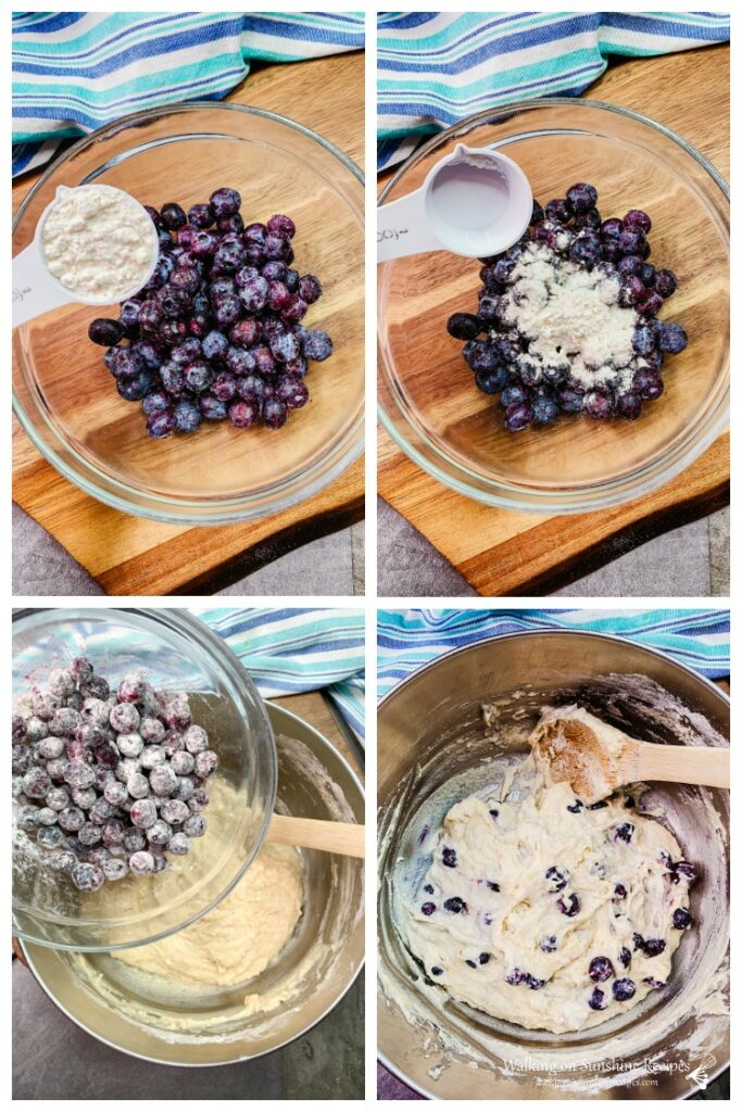 Combining flour to fresh blueberries and adding blueberries to muffin mix